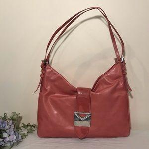 Via Spiga Pink Leather Hobo Bag Pave Diamond